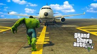 Hulk vs SAMOLOTY (GTA na modach #2) | HULK MOD