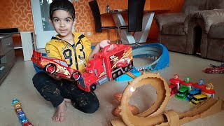 Disney Cars 3 Dlan plays with so many Disney Cars Toys