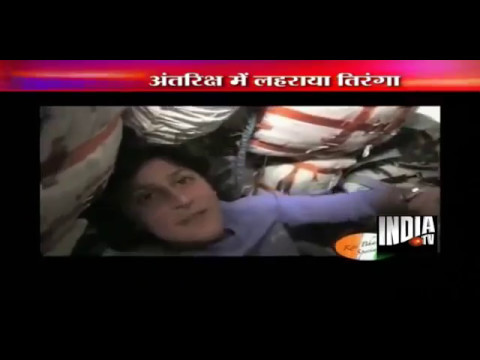 Sunita Williams hoists Indian flag in space