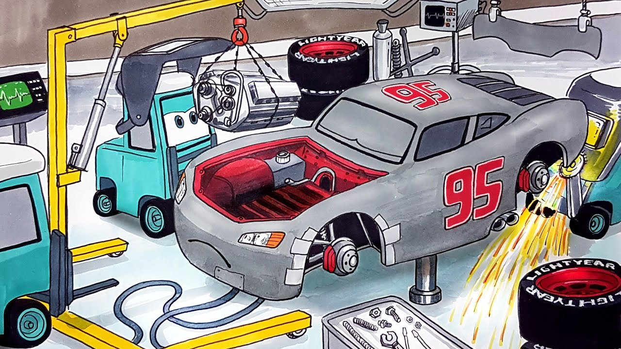 Draw Cars 3 PRIMER LIGHTNING McQUEEN having an engine ...
