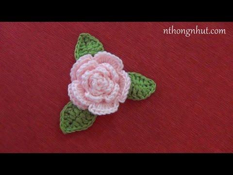Hướng dẫn móc len: Mẫu hoa hồng cuộn tròn