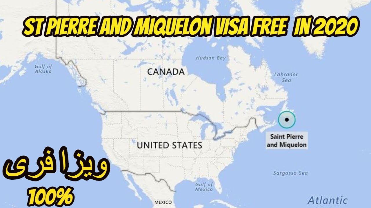 Saint Pierre and Miquelon Visa Free In 2020 -- Saint Pierre and Miquelon on persian gulf on world map, cape of good hope on world map, gulf of mexico on world map, puget sound on world map, bering strait on world map, bay of bengal on world map, english channel on world map, aleutian islands on world map, andes mountains on world map, panama canal on world map, amazon river on world map, mekong on world map, pacific ocean on world map, ethiopian plateau on world map, indus river on world map, danube river on world map, france on world map, colorado river on world map, alaska on world map, cape horn on world map,