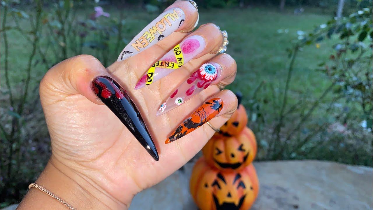 Halloween Acrylic Nails | XX-Long Acrylic Nails | Stiletto ...