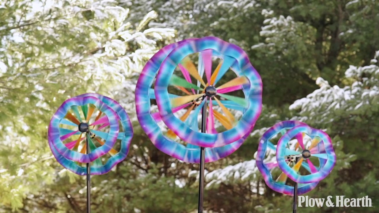 Colorful Ruffled Wind Spinners SKU# 55261 - Plow & Hearth - YouTube
