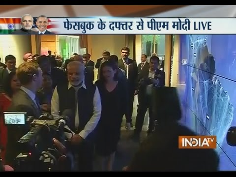 PM Narendra Modi Arrives at Facebook HQ Along with Founder Mark Zuckerberg - India TV