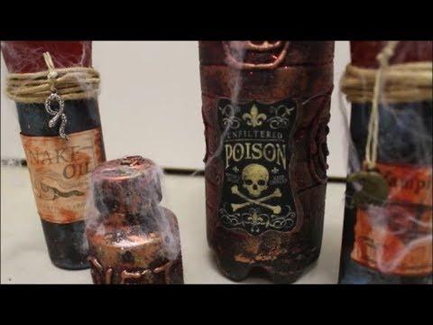 Diy Halloween Flaschen Basteln Giftflaschen Dekoration Upcycling