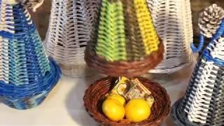 Новогодняя ёлка - сувенир из бумажных трубочек