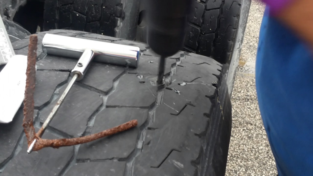 Nail In Tire Repair >> How To Repair A Nail Hole In A Tire With A Plug On Semi Truck Big Truck Or Car Tire