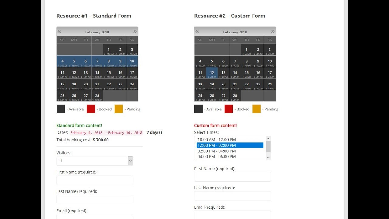 Booking Calendar - Custom Booking Forms