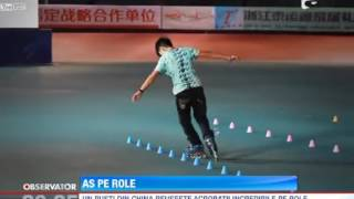 Un pusti din China reuseste acrobatii incredibile pe role