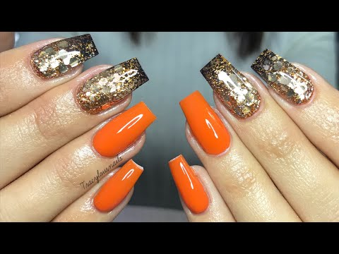 Acrylic nail tutorial | Orange with glitter nails thumbnail