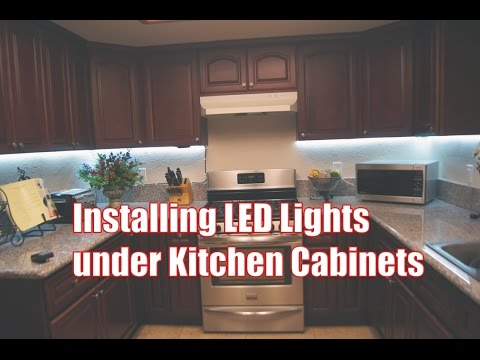 Installing LED Lights under kitchen cabinets - YouTube