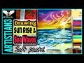 Sea waves painting with soft pastels step by step | Scenery Drawing