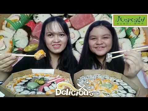 Mix Sushi And Sashimi Mukbang | Gryn Wasabi Sushi Bar