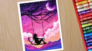 Oil pastel drawing for beginners | Scenery drawing of Fairy on Swing