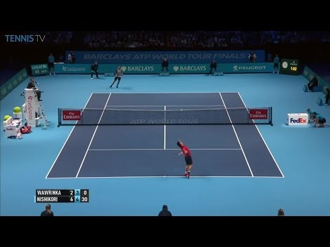 Great forehand from Wawrinka into the corner: 2016 ATP World Tour Finals, RR v Nishikori