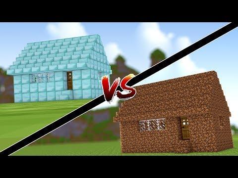 Minecraft: CASA DE DIAMANTE VS CASA DE TERRA !!