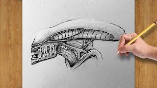 alien head draw xenomorph drawing easy beginners gigers