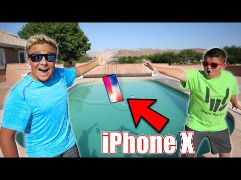 IPHONE X IN THE POOL PRANK!