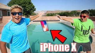 IPHONE X IN THE POOL PRANK!