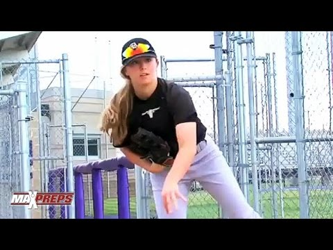 Female high school pitcher Sarah Hudek stands out among the boys