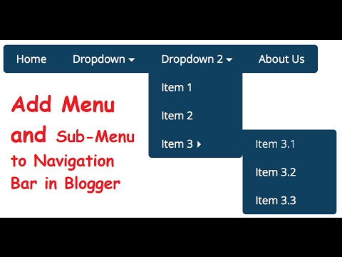 How To Add Menu And Sub-Menu To Navigation Bar In Blogger In Urdu Hindi