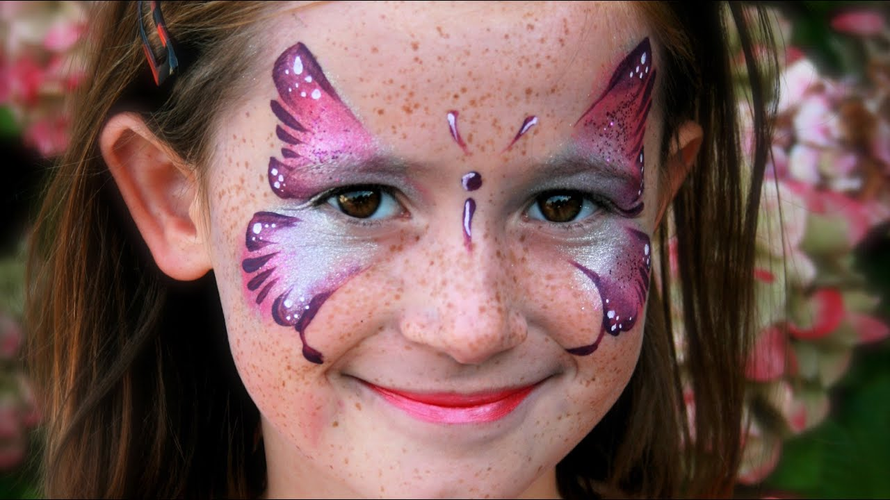 Maquillage facile de papillon rose , Tutoriel maquillage des enfants
