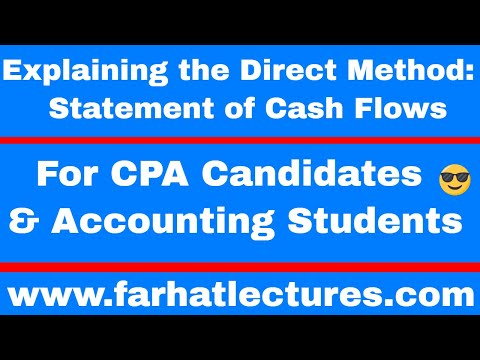 Direct Method Statement Of Cash Flows | Intermediate Accounting | CPA Exam FAR  |
