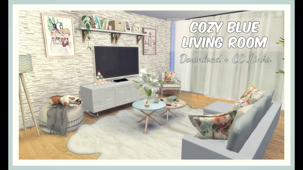 Sims 4 - Cozy Blue Living Room (Download + CC Creators Links) - YouTube