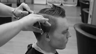 Мужская стрижка ножницами (scissors over comb)