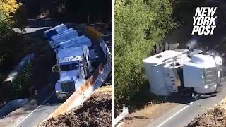 Truck topples down cliff after driver ignored warnings