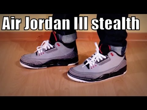 jordan 3 stealth on feet