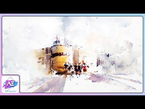 Simple Transparent Watercolor Painting Landscape | How to paint a watercolor landscape | Art Explain