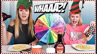 Mystery Wheel Buddy the Elf Spaghetti Challenge | Holiday Challenge | Taylor and Vanessa