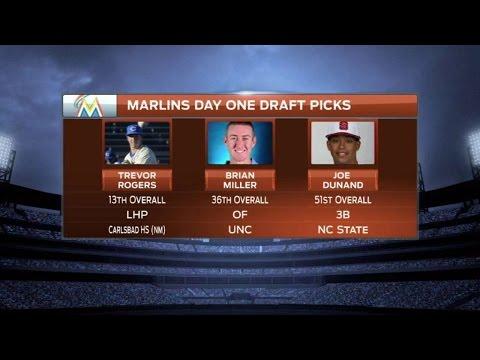 OAK@MIA: Marlins reveal top three draft picks
