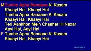 Tumhe Apna Banane Ki Kasam Khai Hai- Kumar Sanu Anuradha Paudwal Duet Hindi Full Karaoke with Lyrics
