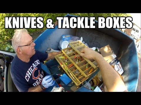 Dumpster Diving Action - 6 Knives  - 3 Tackle Boxes - Huge Scores! Western Cutlery Bowie Knife
