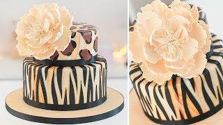Animal Print Cake + Gumpaste Peony - Tutorial - Tan Dulce