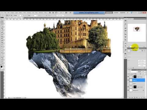 Creating the floating-castle using Photoshop