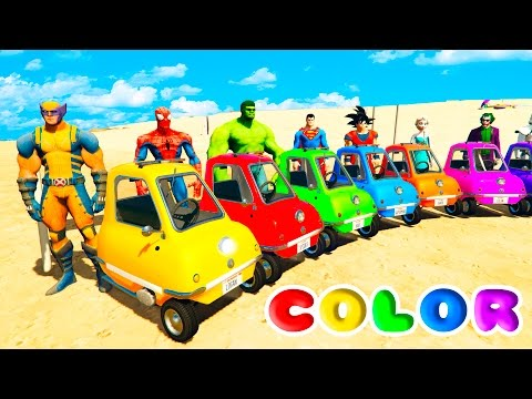 Thumbnail: FUN LEARN COLORS LITTLE CARS BALL PIT Jumping w/ SUPERHEROES For Childrean Nursery Rhymes