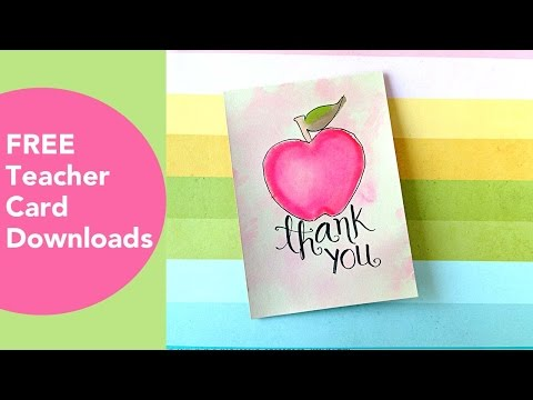 FREE Teacher Card Downloads, Tombow Techniques, Teacher And School Thank You Cards