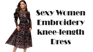 Sexy Women Floral Embroidery knee length Dress