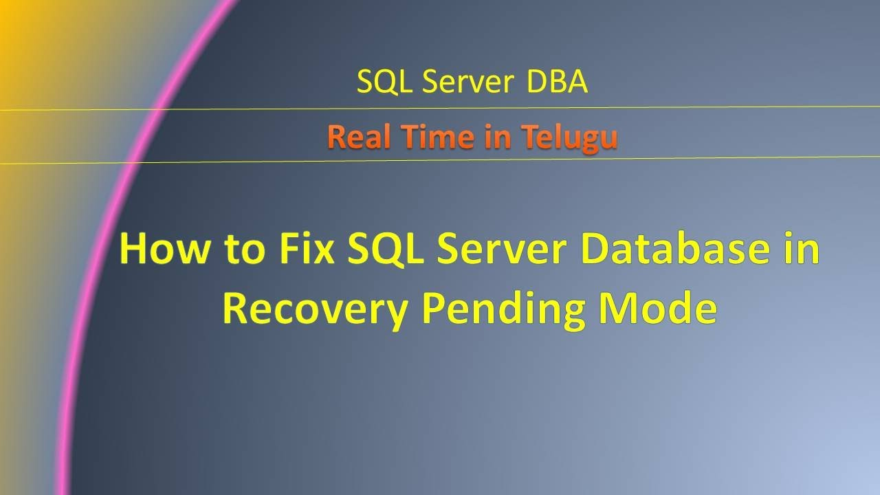 Recovery Database Network Login