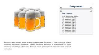 Сколько грамм пива в 1 литре