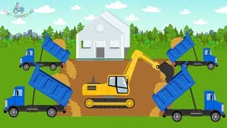 Excavator, Dump Trucks & Street Construction Vehicles is building a new home | Kids video