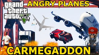 INSANE CARMAGEDDON + ANGRY PLANES GTA 5 MOD MOMENTS HD