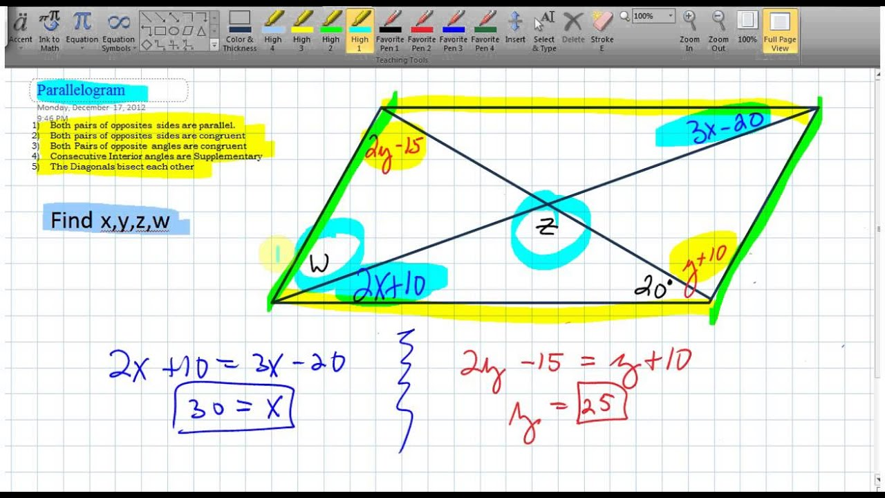 Solving For Angles In Parallelograms 6v4