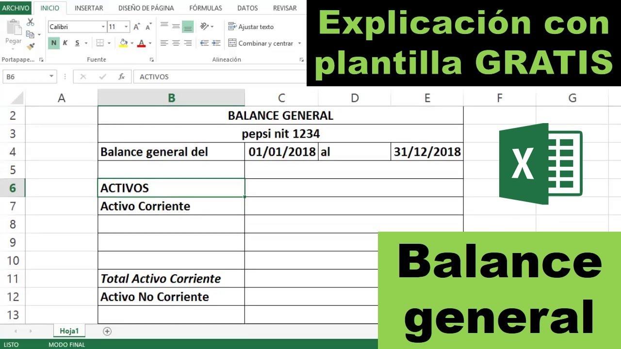 Balance General Paso A Paso En Excel Plantilla Gratis Youtube