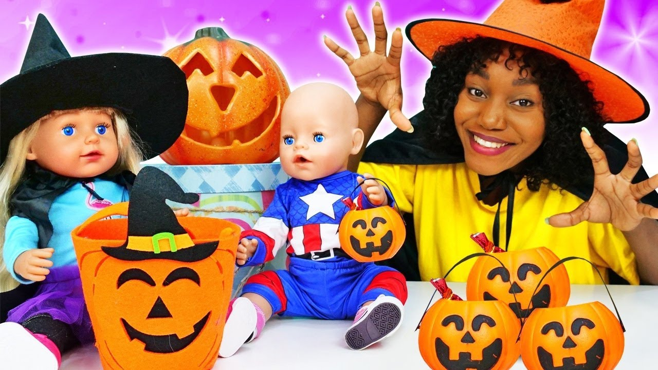 Baby Annabell doll Halloween costumes for kids - Trick or Treat Halloween story for kids.