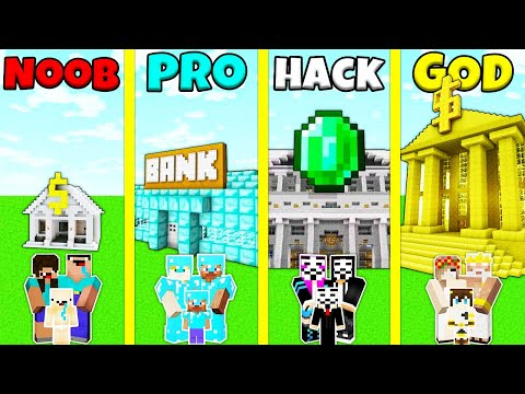 Download Minecraft Battle: NOOB vs PRO vs HACKER vs GOD: FAMILY BANK HOUSE BUILD CHALLENGE / Animation